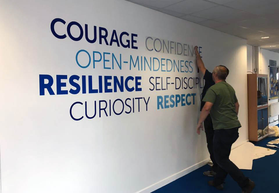 School wall graphics that build engagement